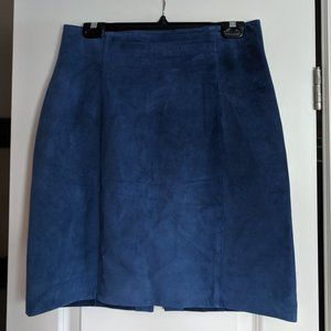 Danier Blue Suede Highwaisted Leather Skirt